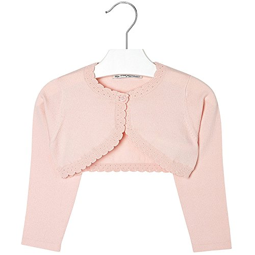 Mayoral Girls 2T-9 Light Rose-Pink Scallop Edge Knit Shrug Cardigan Sweater, Rose Paste,9 by Mayoral