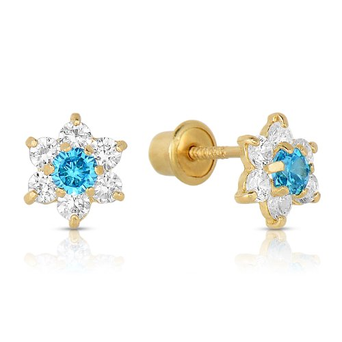 Girls 14k Gold Small Flower Stud Earrings with Cubic Zirconia and Screw Backings (December)