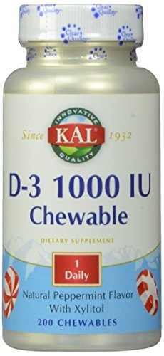 KAL D-3 1000 IU Chewable Tablets, Peppermint, 200 Count by Kal ()