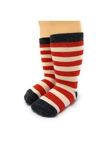- Warrior Alpaca Socks - Baby Alpaca Toddler Non-Skid Children's Striped SocksNEW (12/12-24mos, Red Stripe/Grey)