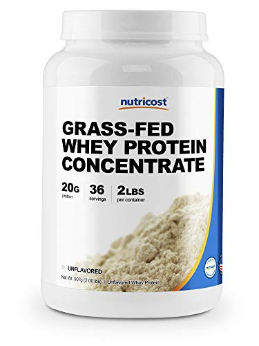 Nutricost Grass-Fed Whey Protein Concentrate (Unflavored) 2LBS - Undenatured, Non-GMO, Gluten Free, Natural Flavors