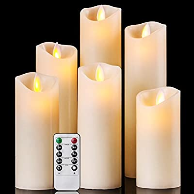 "Flameless Candles Battery Operated Candles 4"" 5"" 6"" 7"" 8"" 9"" Set of 6 Ivory Real Wax Pillar LED Candles with Dancing Flame with 10-key Remote and Cycling 24 Hours Timer"