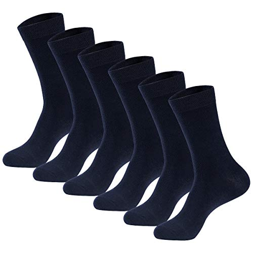 Men's Dress Socks High Ankle Men Casual Dress Socks Cotton Seamless Toe 6 & 12 Pairs by MAGIARTE (Navy Blue, M: Shoe: 5-8.5)