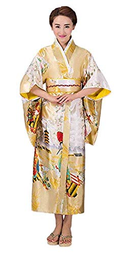 CRB Fashion Kimono Japanese Women's Traditional Style Robe Yukata Costumes (Gold) -