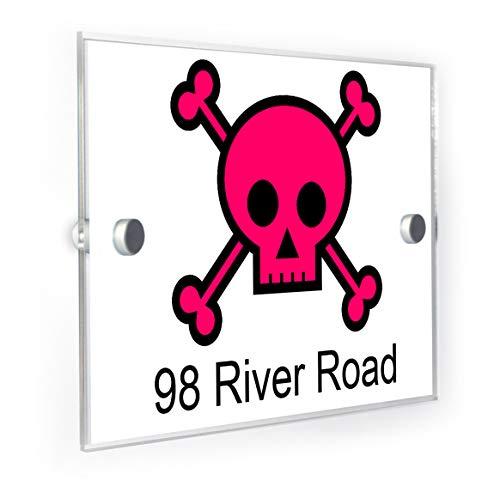 - Punk Rock Pink Skull and Crossbones House Sign Door Number Plaque