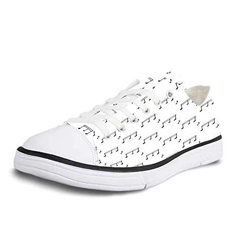 Canvas Sneaker Low Top Shoes,Music Musical Notes Themed Melody Sonata Singing Songs Clef Tunes Hand Drawn Style Pattern Print Women 12/Man 9 ()