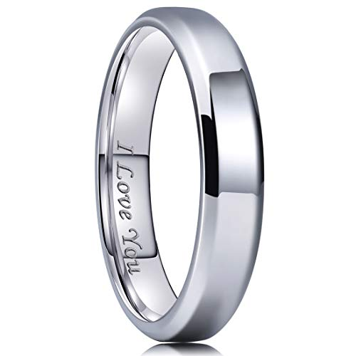 - King Will 4mm Stainless Steel Ring Polished Plain Beveled Edge Wedding Band Laser Etched I Love You 9