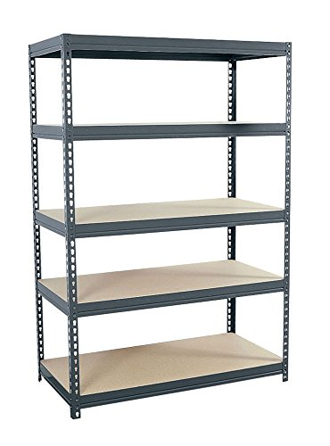 "Edsal MR-185 Steel Rivet Lock Extra Heavy Duty Boltless Shelving with Particle Board, 5 Levels, 1000 lb. Capacity, 36"" W x 18"" D x 72"" H, Industrial Gray"