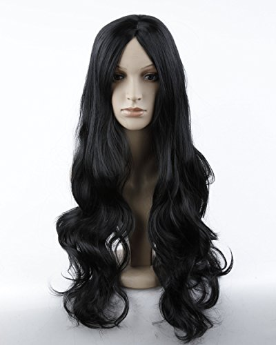 [Dreamworld Sexy Women's Long Wavy Hair Party Wig+wig Cap (Model: Jf010577) (Black).] (Long Sexy Wigs)