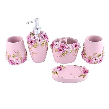 eDealMax Inicio de accesorios de baño Conjunto dispensador de jabón cepillo de dientes Titular Vaso Jabonera
