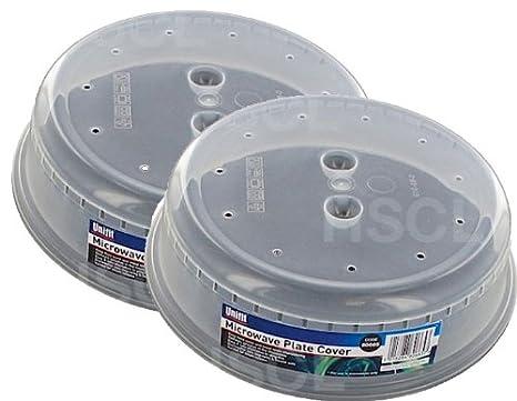 Juego de 2 cubreplatos para microondas, con agujeros, transparente ...