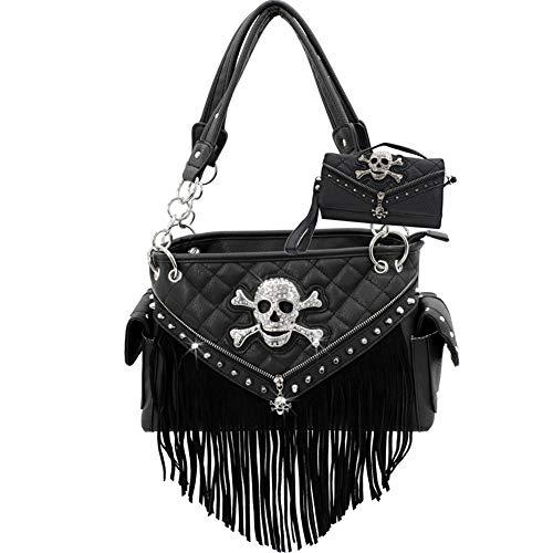 New Biker Rhinestone Skull Western concealed Carry Handbag Wallet Set (Fringe) (New Western Rhinestone Concho)