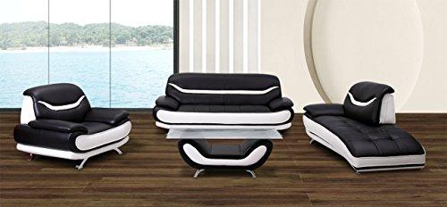 U.S. Livings Beatrice Modern Living Room Contemporary Sofa Set (4, Black and White)