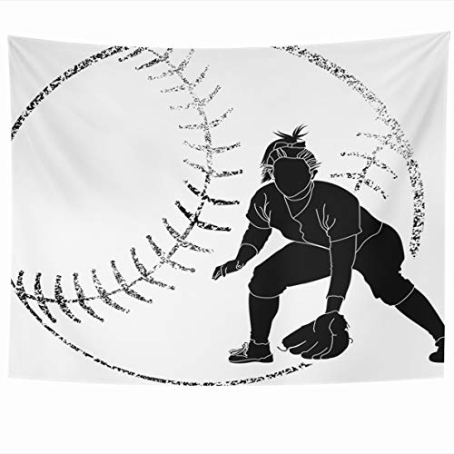 Ahawoso Tapestry 80x60 Inches Floral Girl Softball Fielder Grunge Bat Athlete Batting Catching Wall Hanging Home Decor Tapestries for Living Room Bedroom Dorm