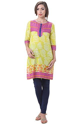 In-Sattva Women's Indian Royal Elephant Print Kurta Tunic; Yellow; Small