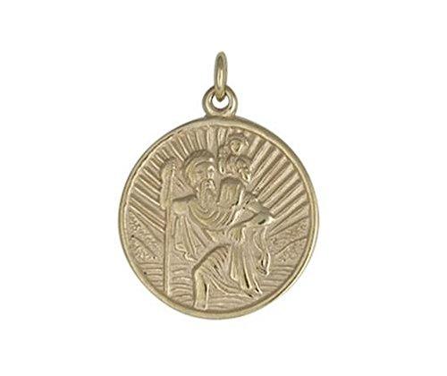 9ct or jaune Medium circulaire Pendentif Saint Christophe