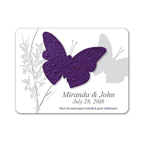 Plantable Cross - Bloomin Plantable Butterfly Wedding Favor with Seed Paper - Violet (25 Card Set)