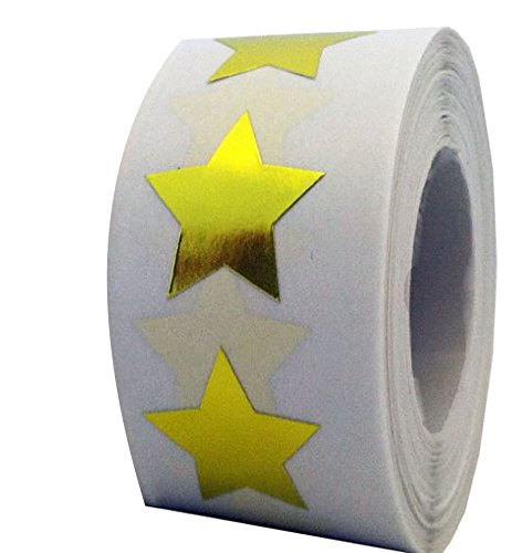 Smart Sticker Gold Star Shape Stickers   2  Inch   500 Per Roll   Shiny Metallic Foil Teacher Supplies