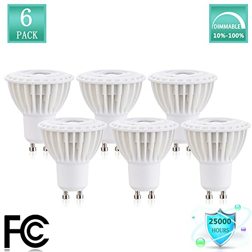 GU10 LED Spotlight Bulb 3Watt Recessed Cabinet Light Bulbs Equivalent Halogen Replacement Bulbs Instead of 30watt Halogen Bulb 3000K Soft Bulb 120V 270Lumen 38 Beam Angle Dimmable(Pack of 6)