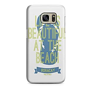 Samsung S7 Edge Case Life is Beautiful at The Beach Durable Metal Inforced Light Weight Samsung S7 Edge Cover Wrap Around