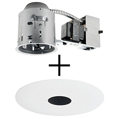 Juno Lighting TC44R & 443B-WH Combo 4-Inch Low-Voltage TC rated Remodel Recessed Housing with White Pinhole Downlight Trim, Black - Low Voltage Trim Pinhole