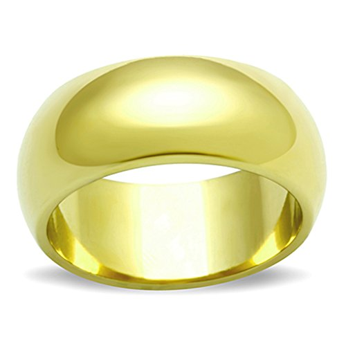 14k Gold Ion Plated Stainless Steel 316, 8mm Wide Wedding Band Womens Size 6 (Wide Gold Band)