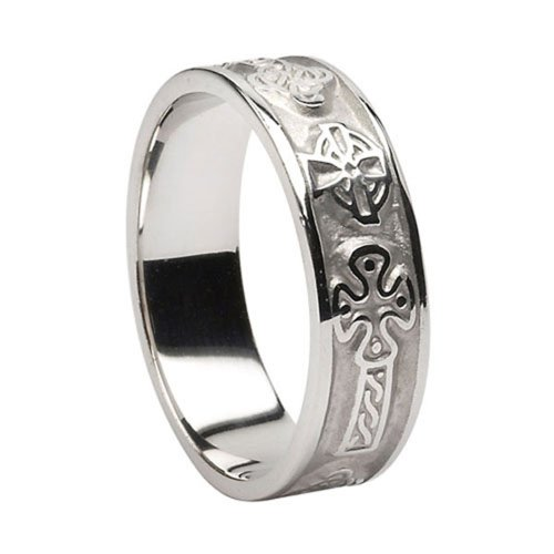 Ladies Celtic Cross Ring 14k White Gold Made in Ireland