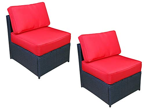 Mcombo Outdoor Patio Black Wicker Furniture Sectional Set All-Weather Resin Rattan Chair Modular Sofas with Water Resistant Cushion Covers 6085 Middle Chair Red (Rattan Modular)