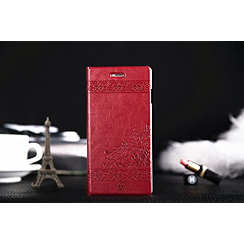 - 418iU14FKwL - iPhone 6/6s Case, iPhone 6s Flip Leather Case, ACO-UINT Premium Luxury Classic Retro Decorative Pattern Vintage Flip Folio PU Leather Case Cover Wallet Folding Stand with Credit Card Slot for Apple iPhone 6 4.7 Inch, Two Stylus Pens/2 Screen Protector/ACO-UINT® Microfiber Cleaning Cloth Included (Retro Pattern – wine red)