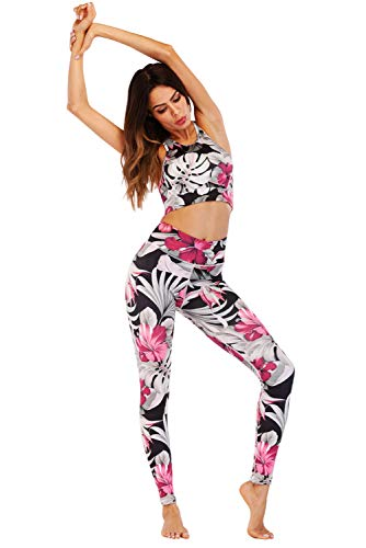 Survêtement gorge Femme Up Gym Imprimé Activewear Trousers Ft034 Push Leggings Ensemble Yoga Tank 2pcs Tenue Running Sportswear Pantalon Sport De Soutien Et Jogging Tops PnTqY4