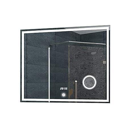 Lux-aqua Salle de Bains Miroir Miroir Mural Miroir Lumineux Horloge Miroir LED Interrupteur Tactile/ /lmc0860/a 80/x 60/cm