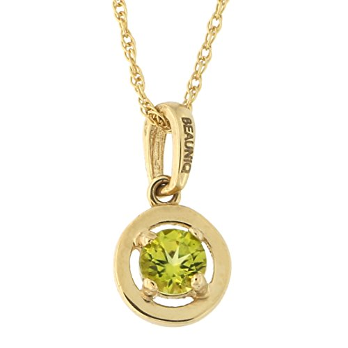 Beauniq 14k Yellow Gold Peridot Solitaire Pendant Necklace, 15
