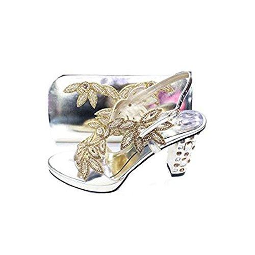 UK Damen Wear mit Braut Komfort Frauen Hochzeit Abendmode Gold Tasche Sandale Passender Diamante Schuhe Walk Plattform p55rqwtS