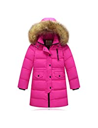 ZPW Childrens Thick Parka Coat Winter Hooded Fur Long Down Jacket
