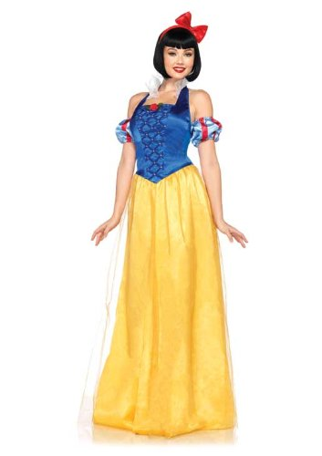 Leg Avenue Disney 3Pc. Princess Snow White Costume Dress Sleeves and Bow Headband, Blue/Gold, (Adult Disney Characters Costumes)