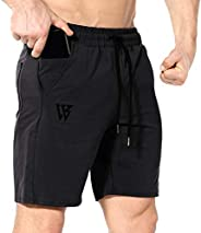 ZENWILL Mens Gym Running Shorts,Hidden Zip Cotton Men's Workout Athletic Shorts with Poc