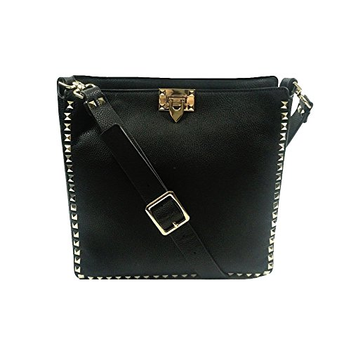 'kenza' Urban Faux Leather Black Pebbled Cross Body Handbag By Inzi In-6790