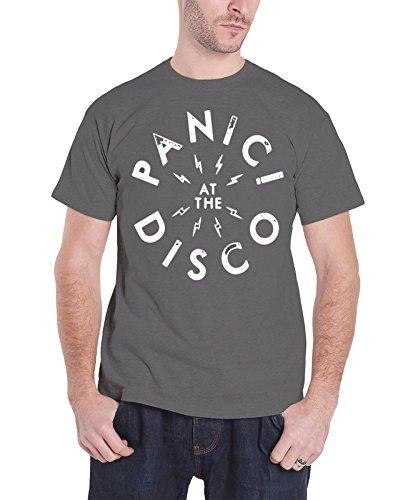 Disco Logo Tee (Panic At The Disco Mens T Shirt Grey Bolt Band Logo Official)