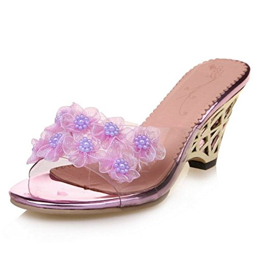 Zanpa Mujer Slip On Sandalias Wedges Verano Zapatos Flower Beaded Purple