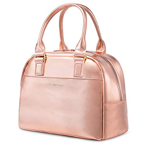 LOKASS Lunch Bag Cooler Bag Women Tote Bag Insulated Lunch Box Water-resistant Thermal Lunch Bag Soft Liner Lunch Bags for women/Picnic/Boating/Beach/Fishing/Work (Rose Gold)