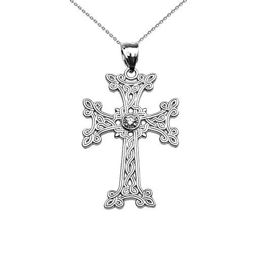 Collier Femme Pendentif 10 Ct Or Blanc Arménien Croix Solitaire Diamant (Livré avec une 45cm Chaîne)