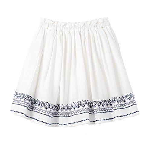 Price comparison product image La Redoute Collections Big Girls Skirt With Folk Embroidery 3-12 Years Beige Size 8 Years - 49 In.