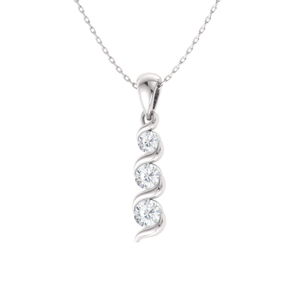 Diamondere Natural and Certified Gemstone Three Stone Necklace in 14k White Gold 0.17 Carat Journey Pendant with Chain