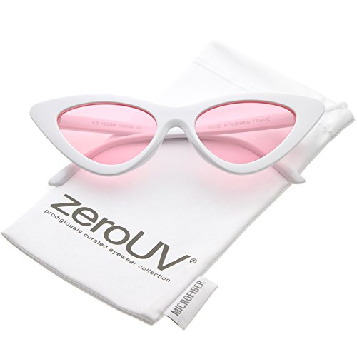 zeroUV - Womens Exaggerated Slim White Frame Color Tinted Lens Cat Eye Sunglasses 48mm (White / - Color Frame Sunglasses