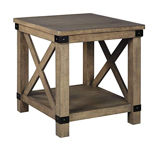Signature Design by Ashley – Aldwin Rectangular End Table, Pine Wood