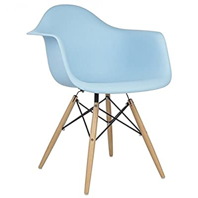 2xhome Set of Two (2) - Eames Style Armchair Natural Wood Legs Eiffel Dining Room Chair - Lounge Chair Arm Chair Arms Chairs Seats Wooden Wood Leg Wire Leg