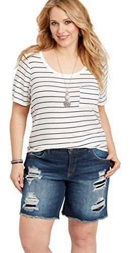 330bff2c Silver Jeans Co. Women's Plus Size Sam Mid Rise Boyfriend Bermuda Shorts,  Dark Destroyed