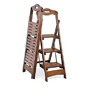 "Wooden Folding Ladder Stool 3 Step Walnut Finish - 48"""