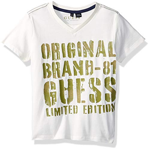 Guess Boys' Little Short Sleeve Limited Edition T-Shirt, Linen White, 5 ()