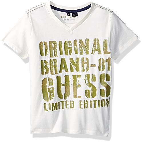 GUESS Boys' Little Short Sleeve Limited Edition T-Shirt, Linen White, 5 ()